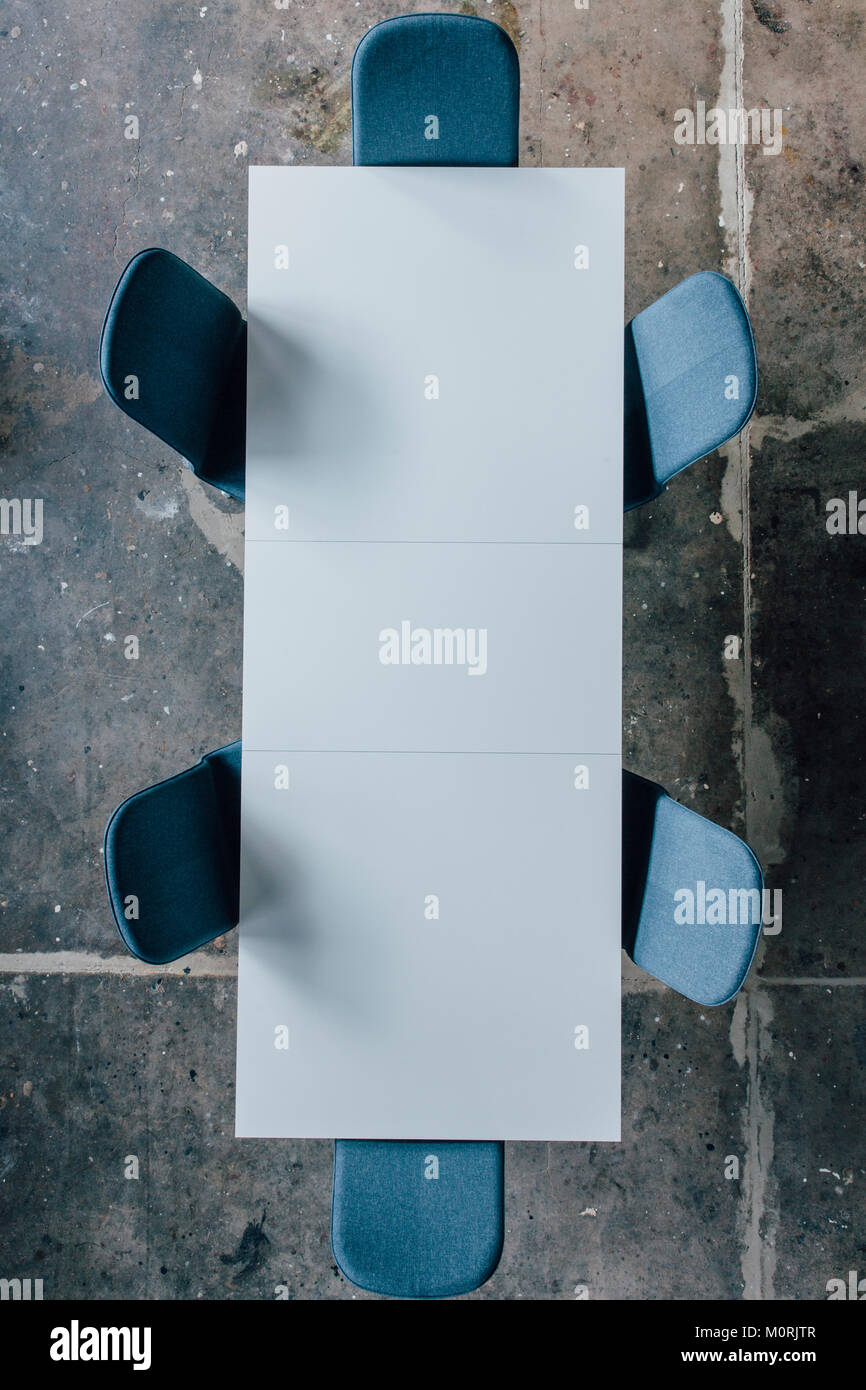 Conference table seen from above Stock Photo