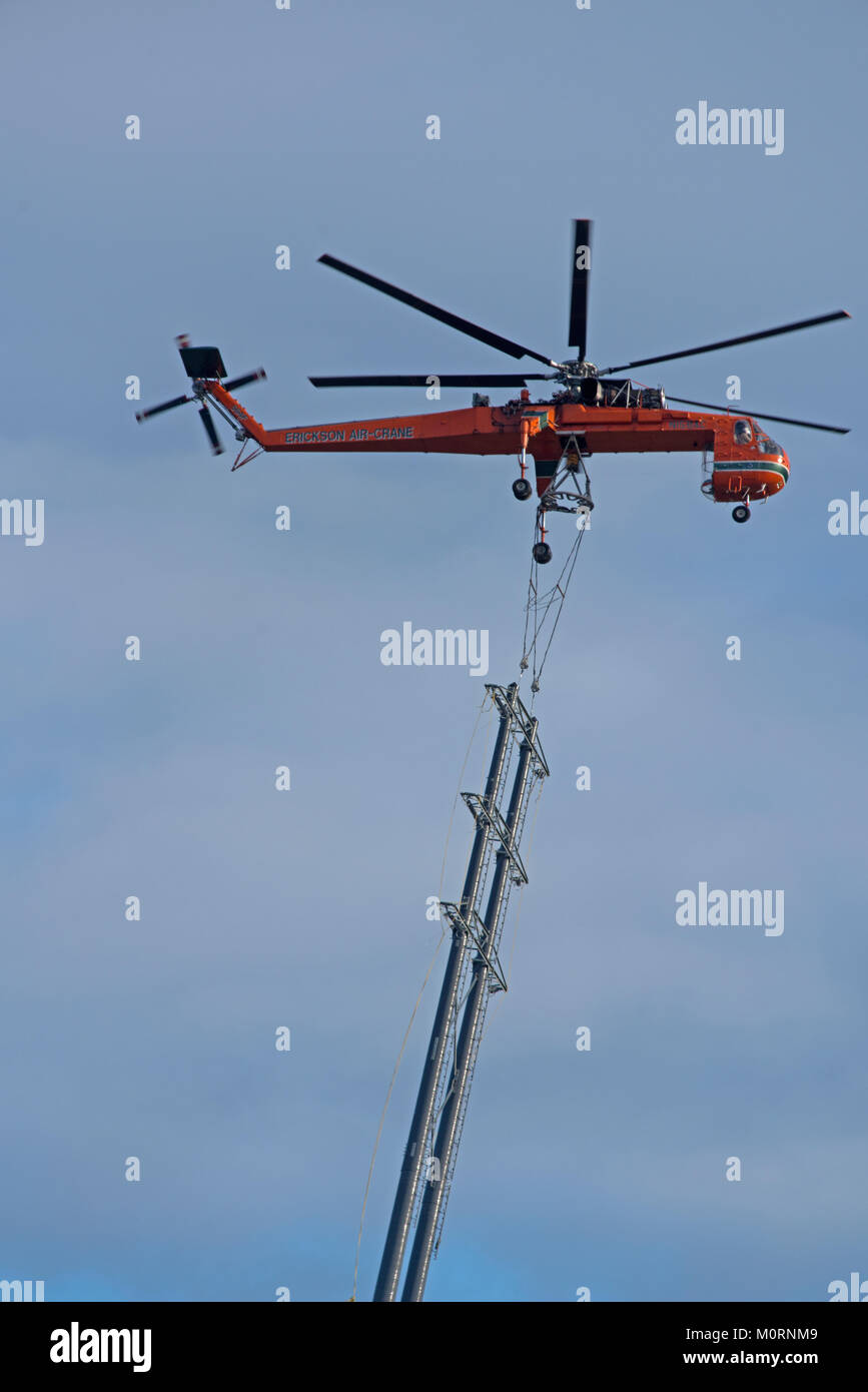 Erickson Air Crane at Drumuir wind farm site near Keith in Moray. - Stock Image