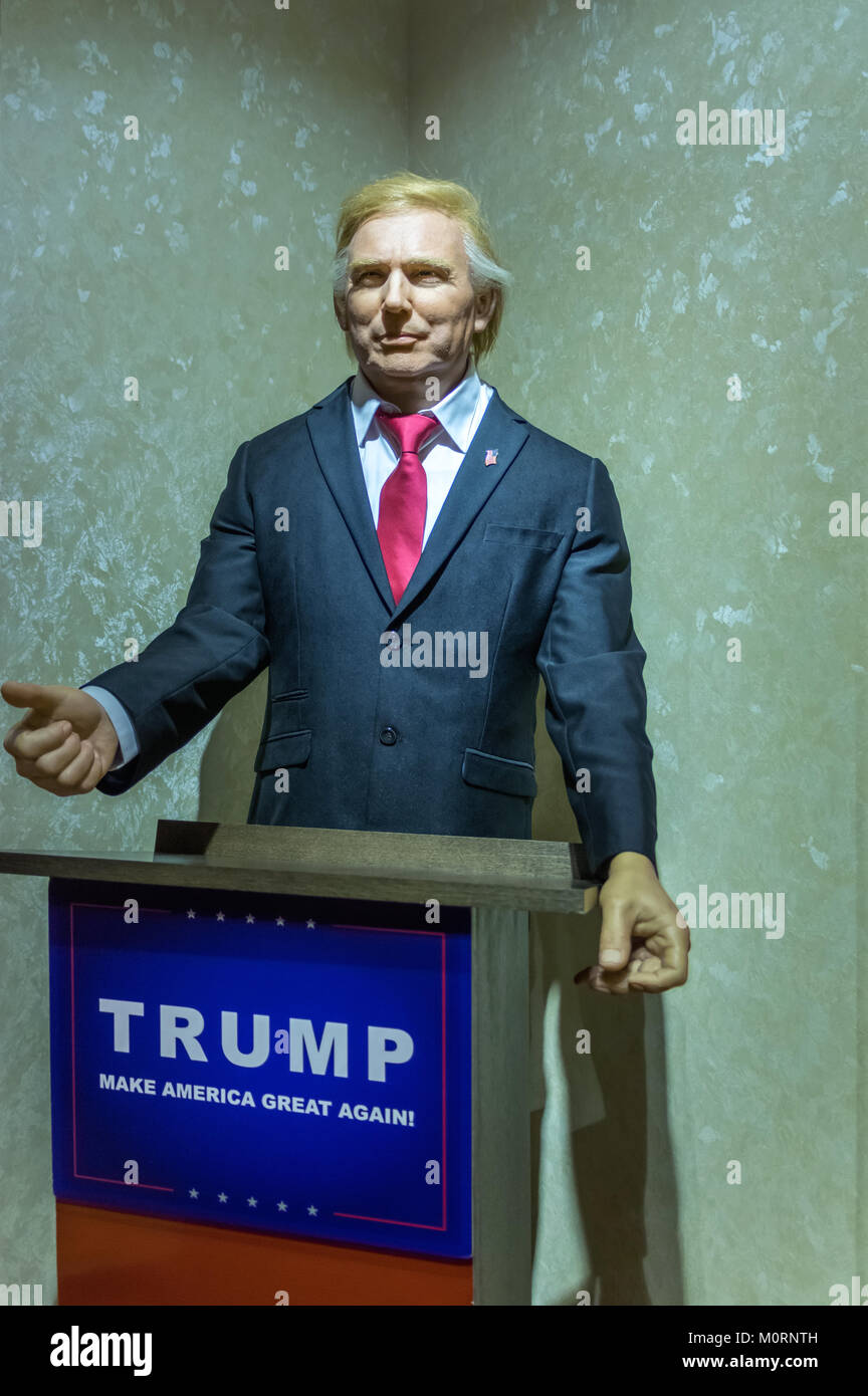 Wax statue of Donald Trump, the 45th President of the United States at the Krakow Wax Museum - Cracow, Poland. - Stock Image