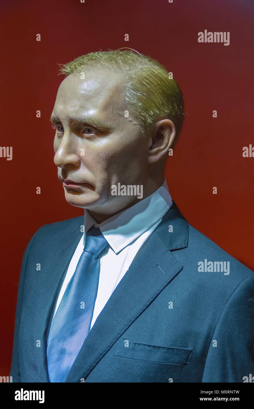 Wax statue of Vladimir Putin, the President of the Russian Federation at the Krakow Wax Museum - Cracow, Poland. Stock Photo