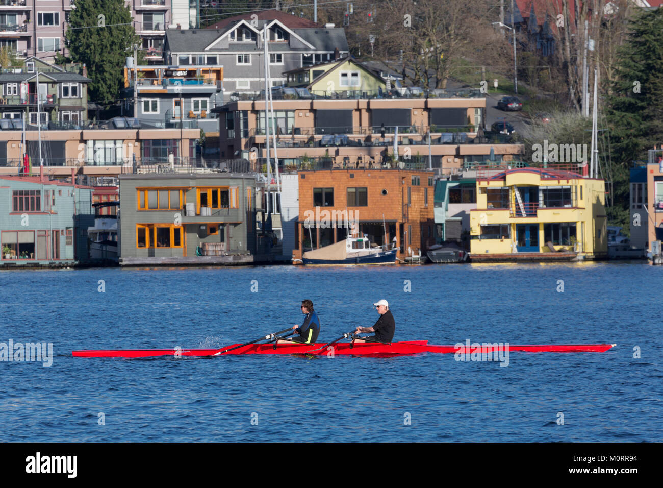 Rowing on Lake Union with houseboats in the background, Seattle, Washington, USA - Stock Image