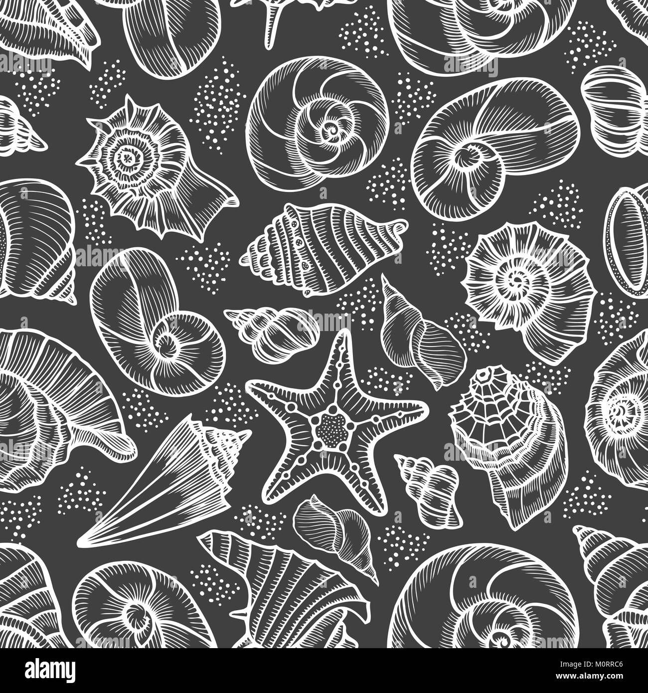 Seamless pattern tile wallpaper of Hand drawn Collection of seashells in line art style on blue background. Ocean - Stock Image