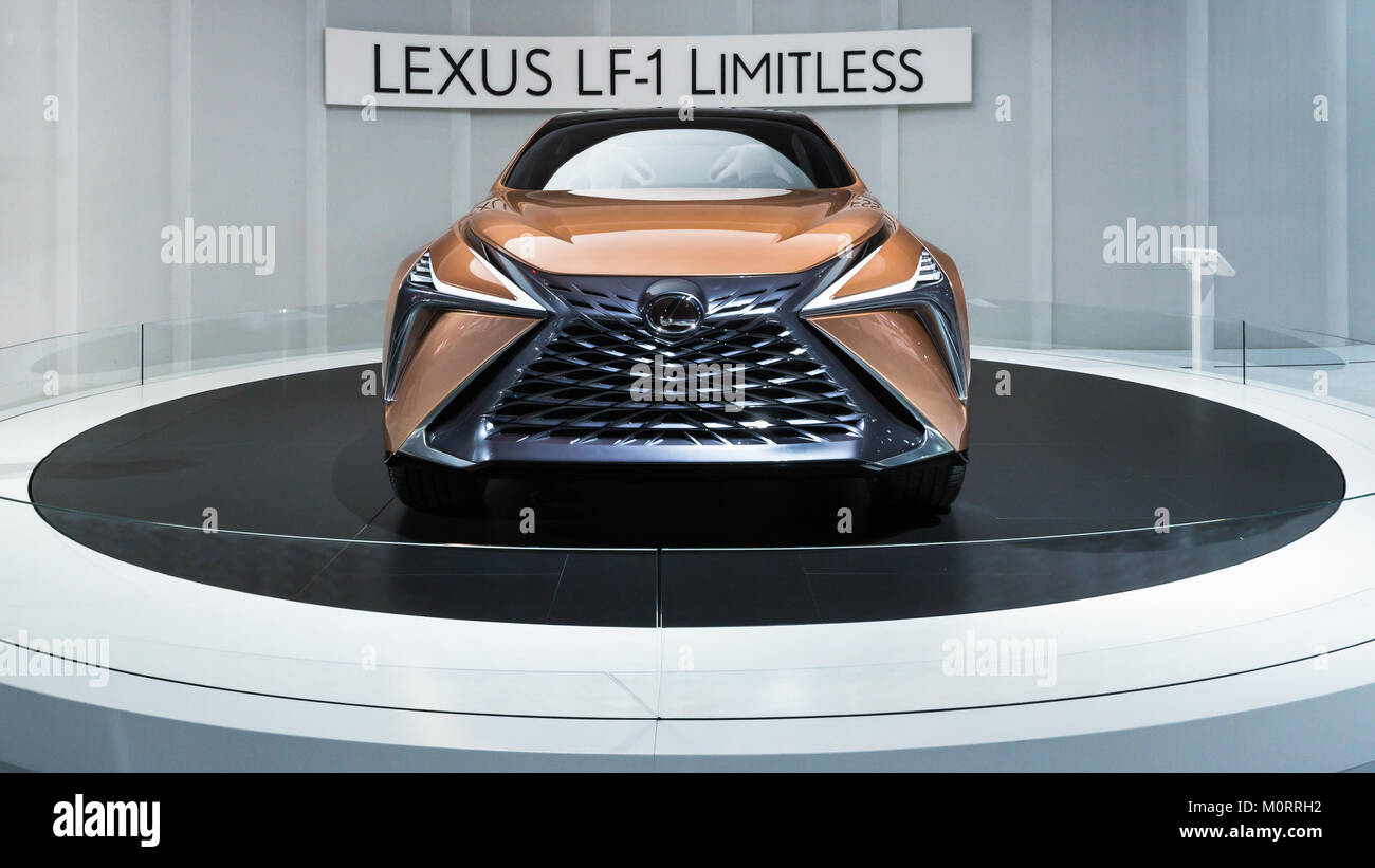 DETROIT, MI/USA - JANUARY 17, 2018: A Lexus LF-1 Limitless Concept car at the North American International Auto - Stock Image