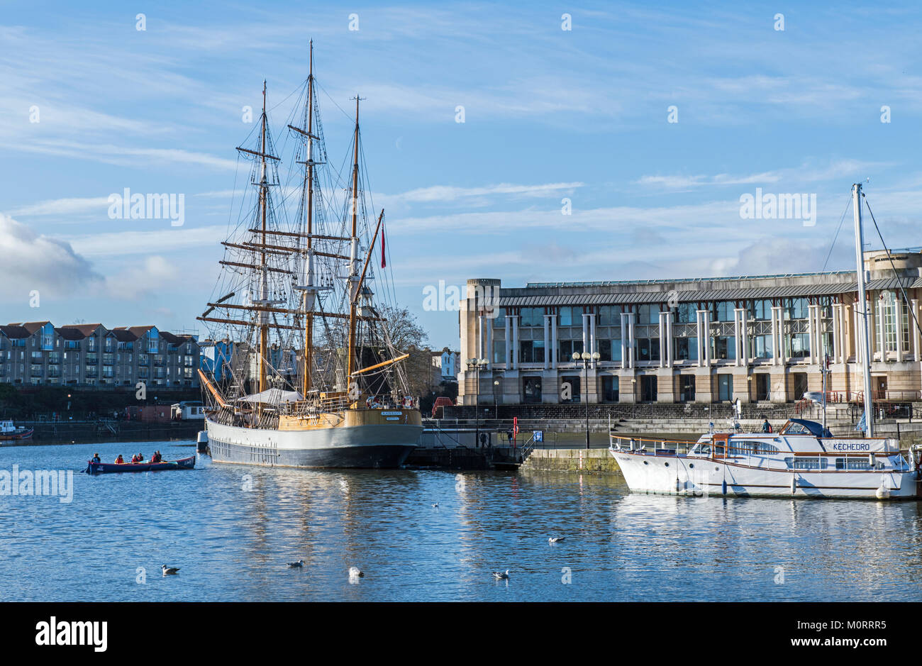 The Three Masted Barque Kaskelot moored in Bristol Harbour - Stock Image