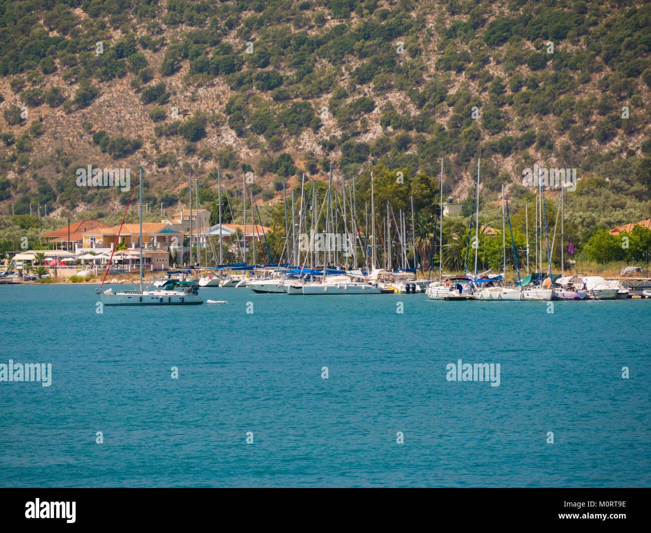 sailing boats in Ithaca island in Greece - Stock Image