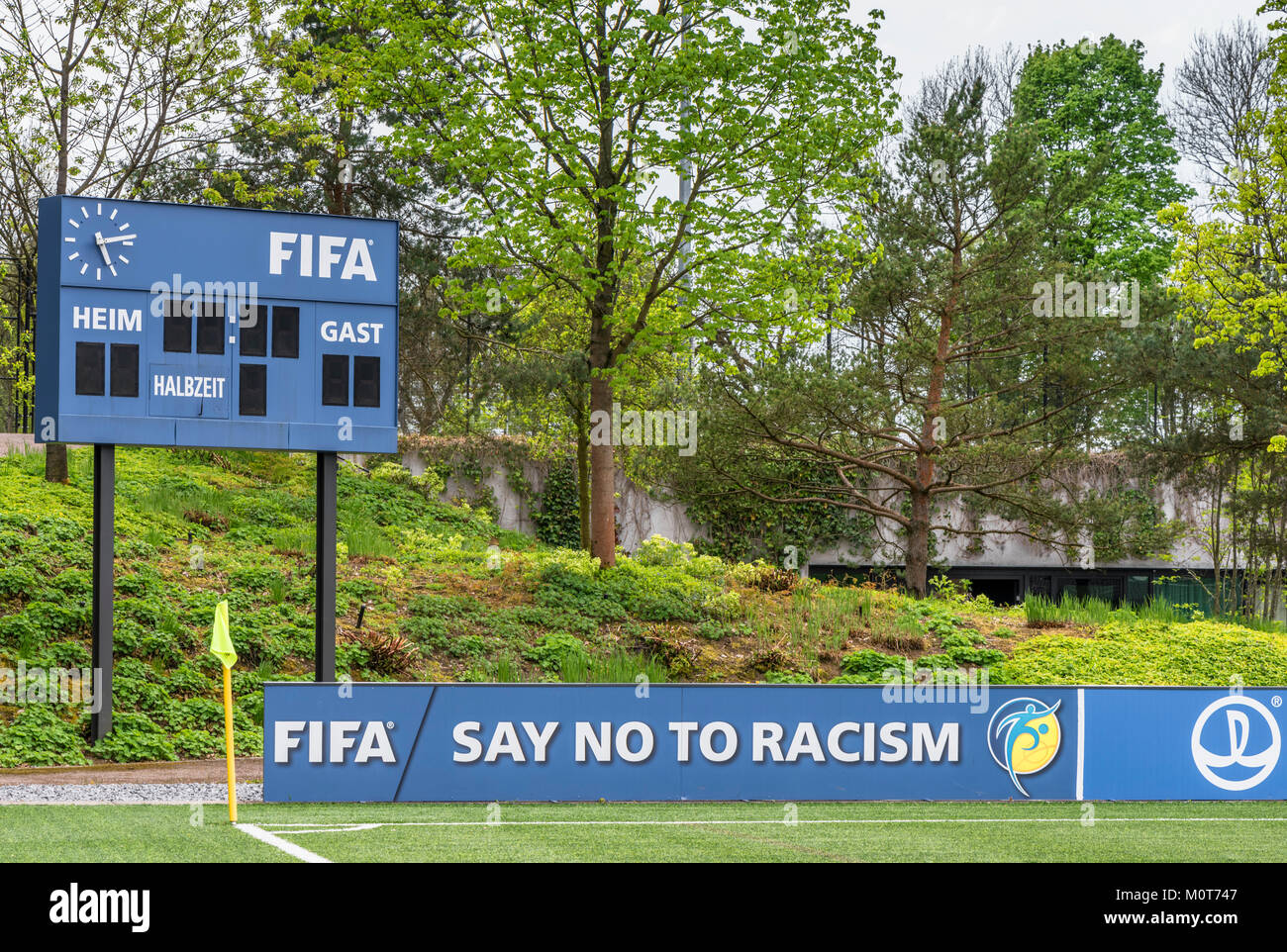 Say No to Racism motto in the park of FIFA headquarters.  Zurich, Switzerland - Stock Image