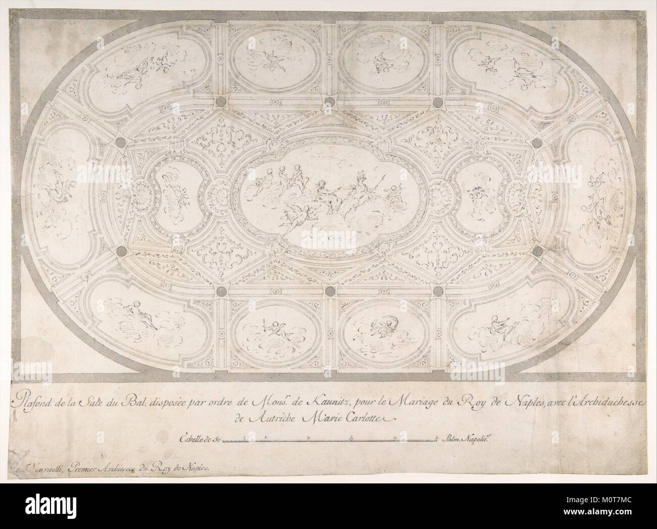 Ceiling of Ballroom decorated for the Marriage of the King of Naples to the Archduchess of Austria MET DP801609 Stock Photo