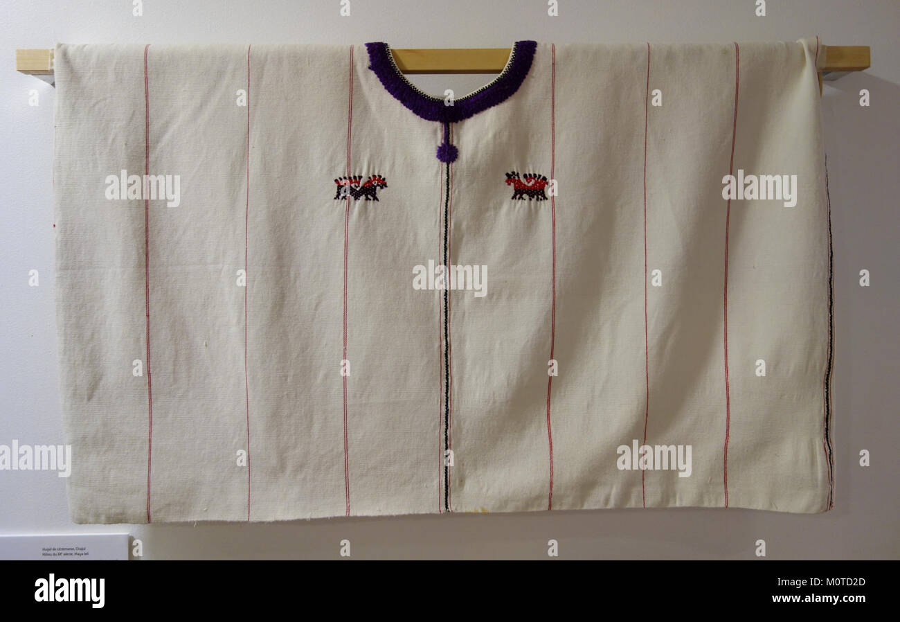 Ceremonial huipil, Ixil Maya, Chajul, mid 20th century, cotton and silk - Textile Museum of Canada - DSC01115 - Stock Image