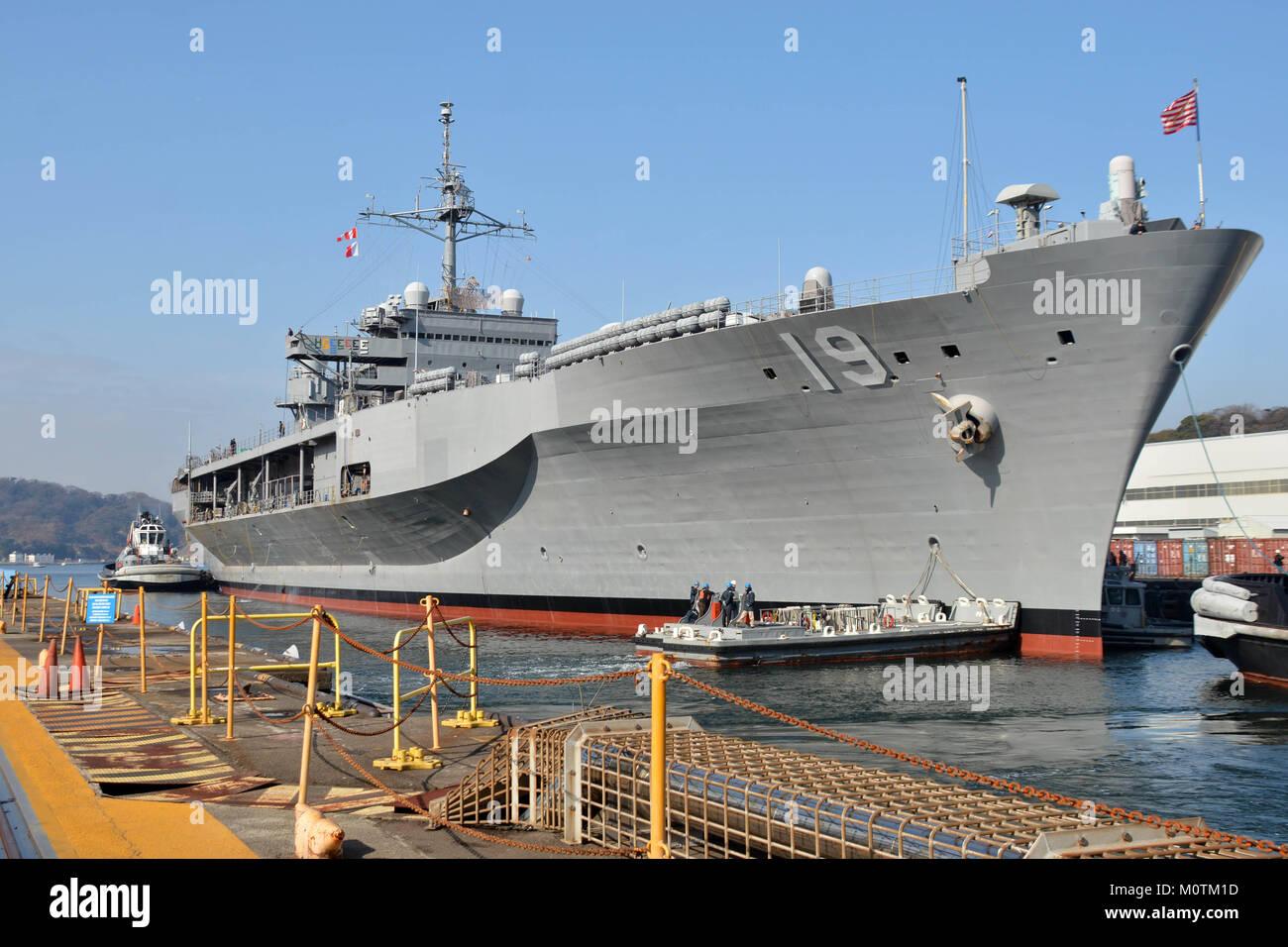 The U S  7th Fleet flagship USS Blue Ridge (LCC 19) leaves