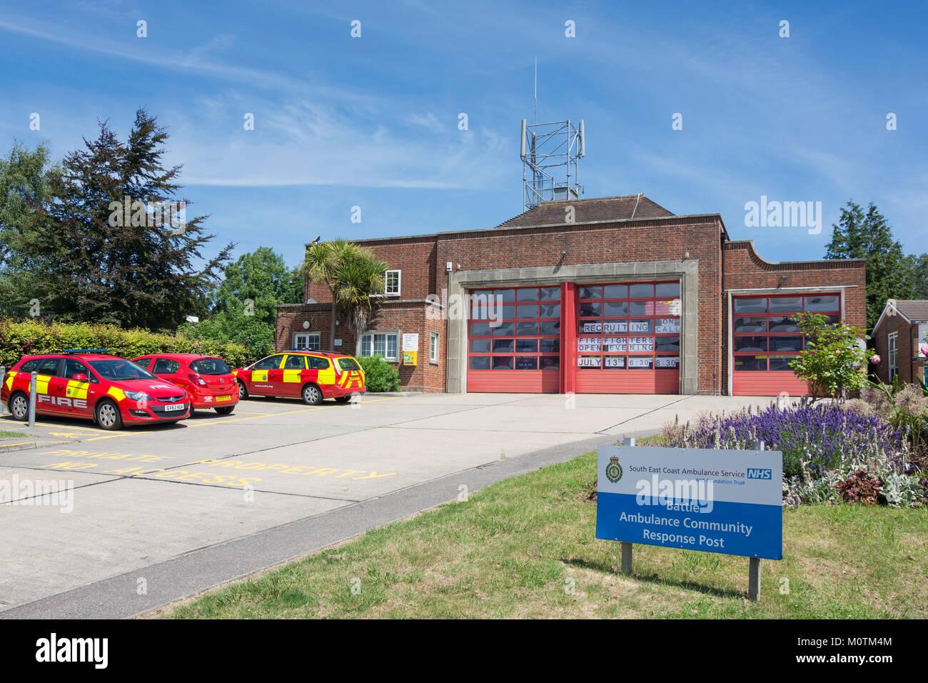 Battle Community Fire Station, High street, Battle, East Sussex, England, United Kingdom - Stock Image