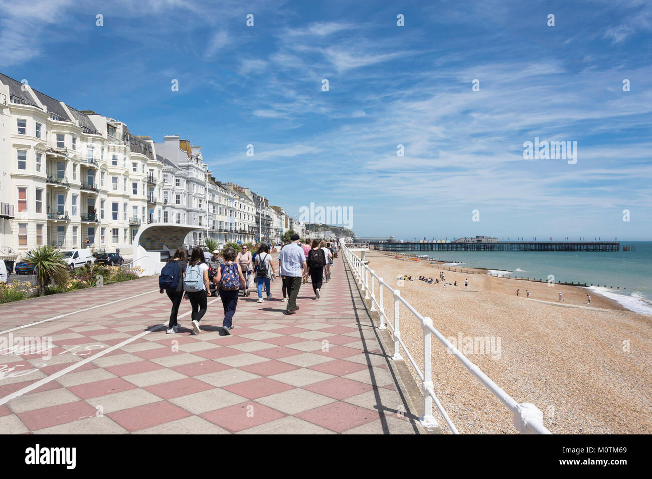 Beach promenade and pier, Hastings, East Sussex, England, United Kingdom - Stock Image