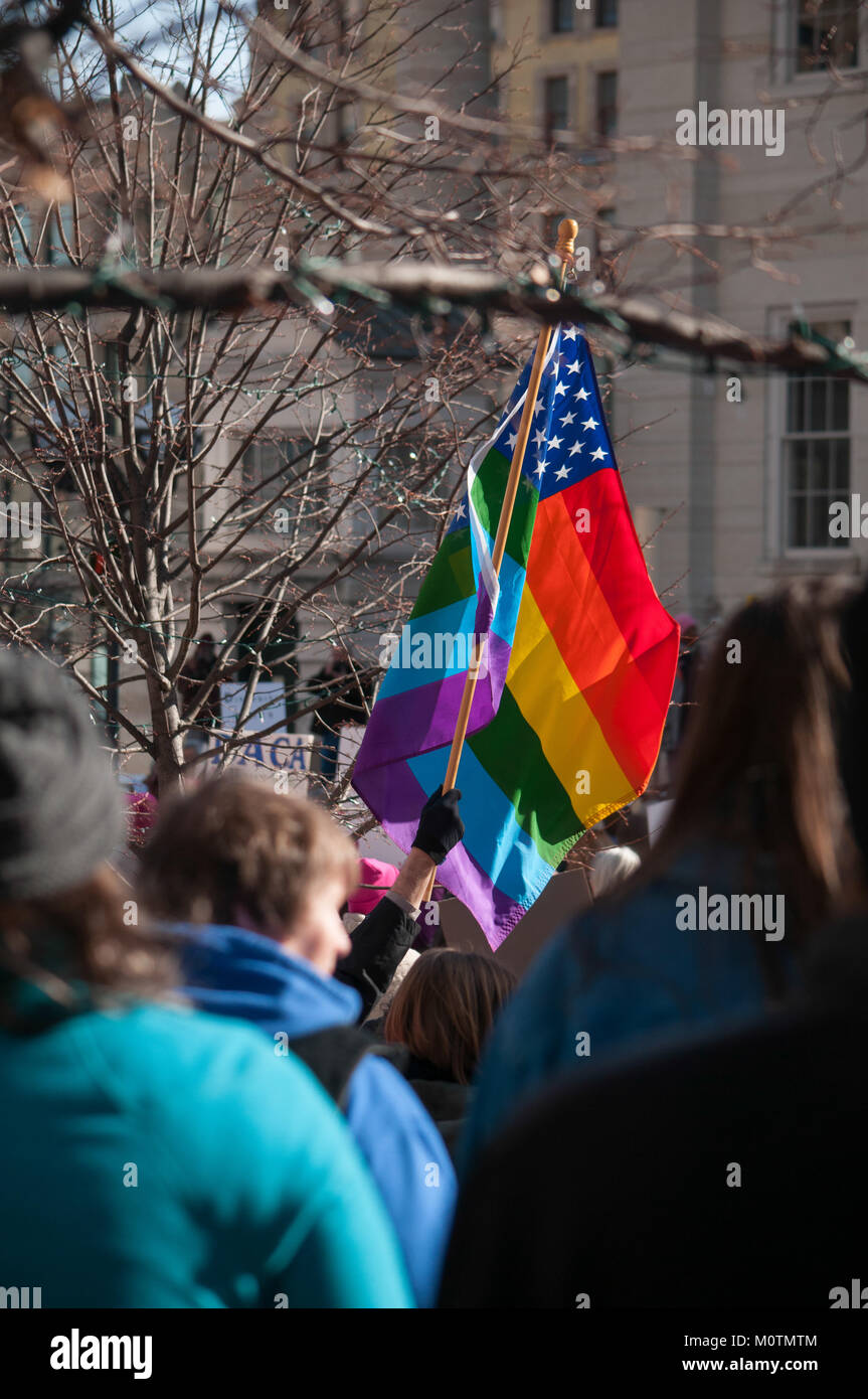 An LGBT flag proudly flies at the Women's March / rally in Dayton, Ohio on January 20th 2018. - Stock Image