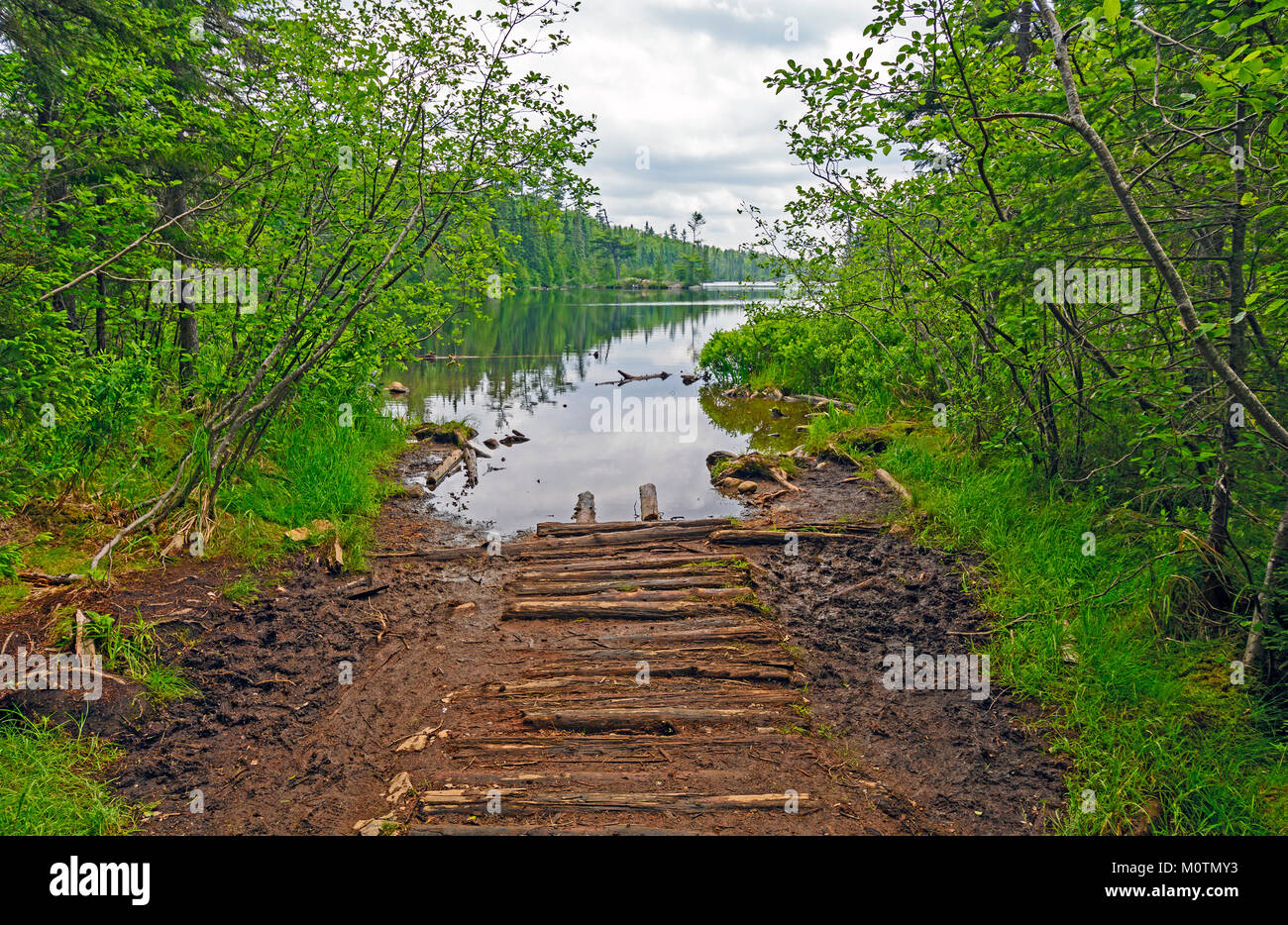 Portage Trail to Lizz Lake in the Boundary Waters in Minnesota Stock Photo