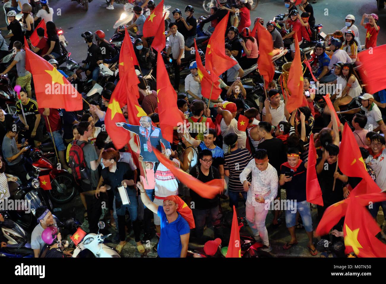 HO CHI MINH CITY, VIET NAM, Crowd of Vietnamese football