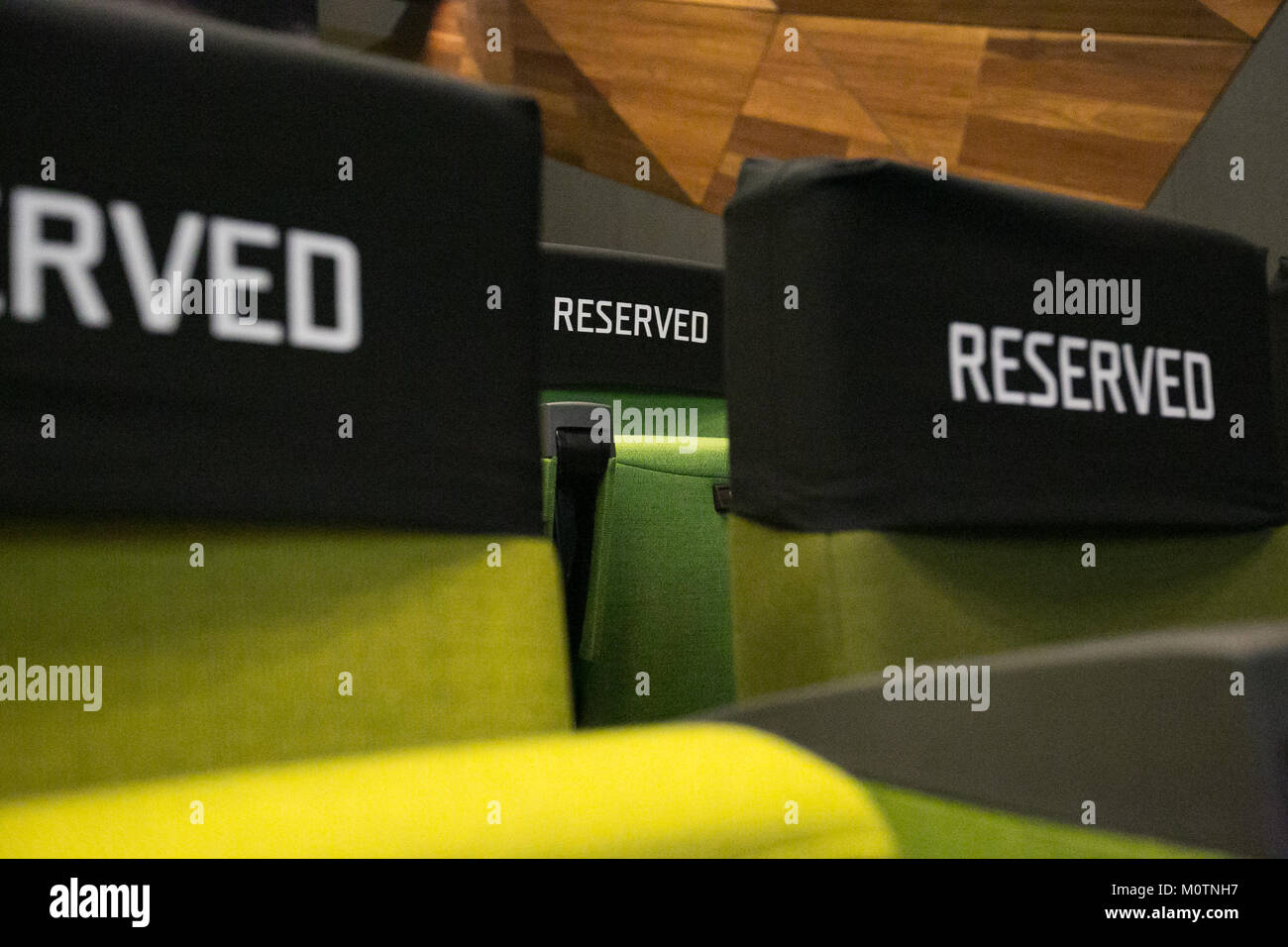 Reserved seats at the Melbourne Convention & Exhibition Centre - Stock Image