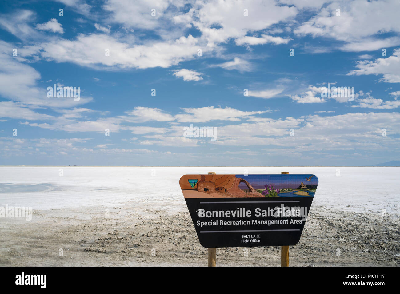 Sign and public access to Bonneville Salts Flats in Tooele County Utah near Wendover and managed by Bureau of Land - Stock Image