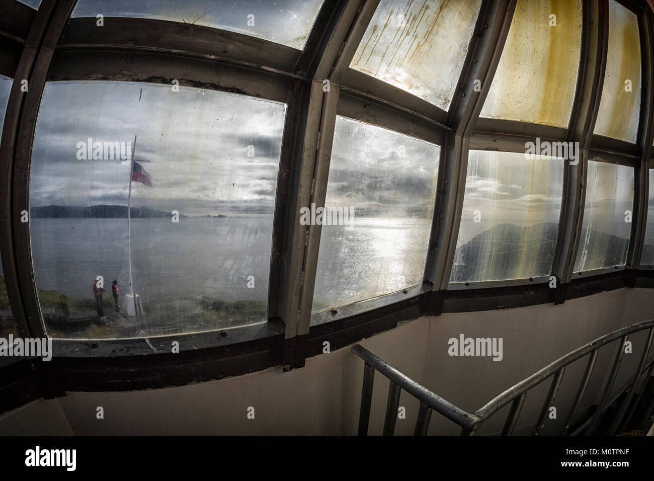 Looking out from Cape Horn Light in Tierra del Fuego, Chile - Stock Image