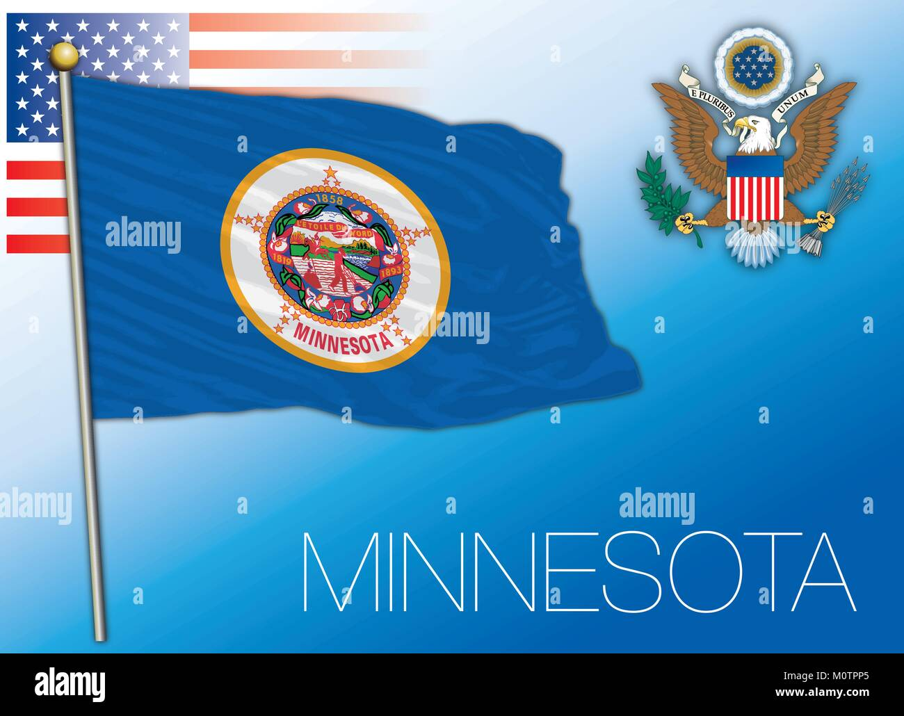 Minnesota federal state flag, United States - Stock Vector