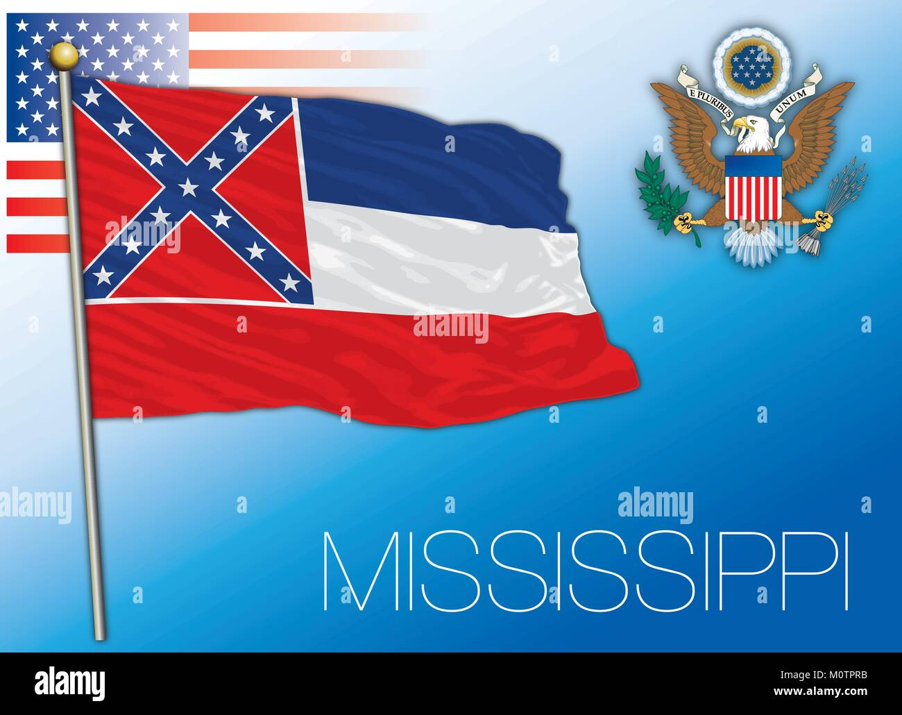 Mississippi federal state flag, United States - Stock Vector