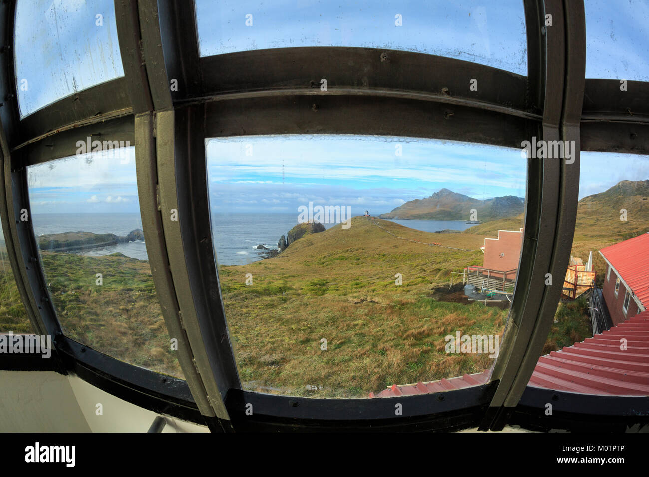 View from Cape Horn Lighthouse towards Dranke Passage, Chile - Stock Image