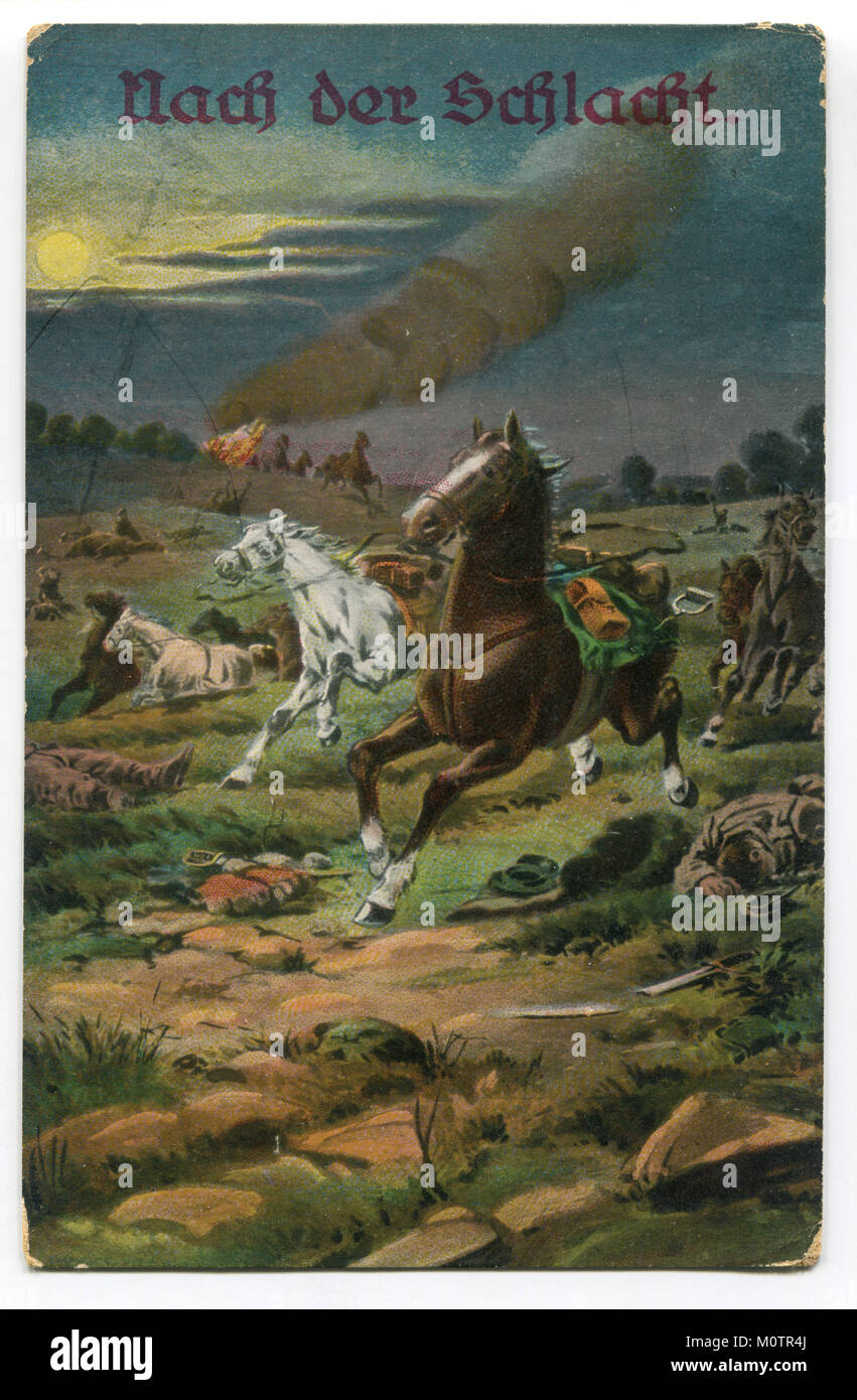 Old German postcard 'After the battle', the battlefield, galloping horses without riders, dead soldiers - Stock Image