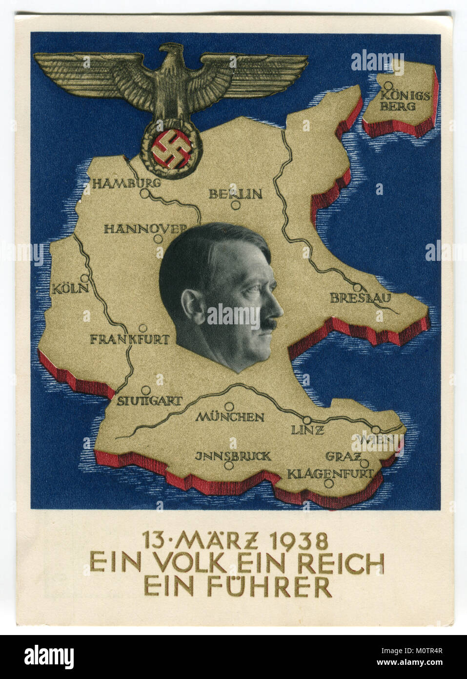Old German postcard 'ein volk ein reich ein führer' 1938, Germany, the third Reich, the second world - Stock Image