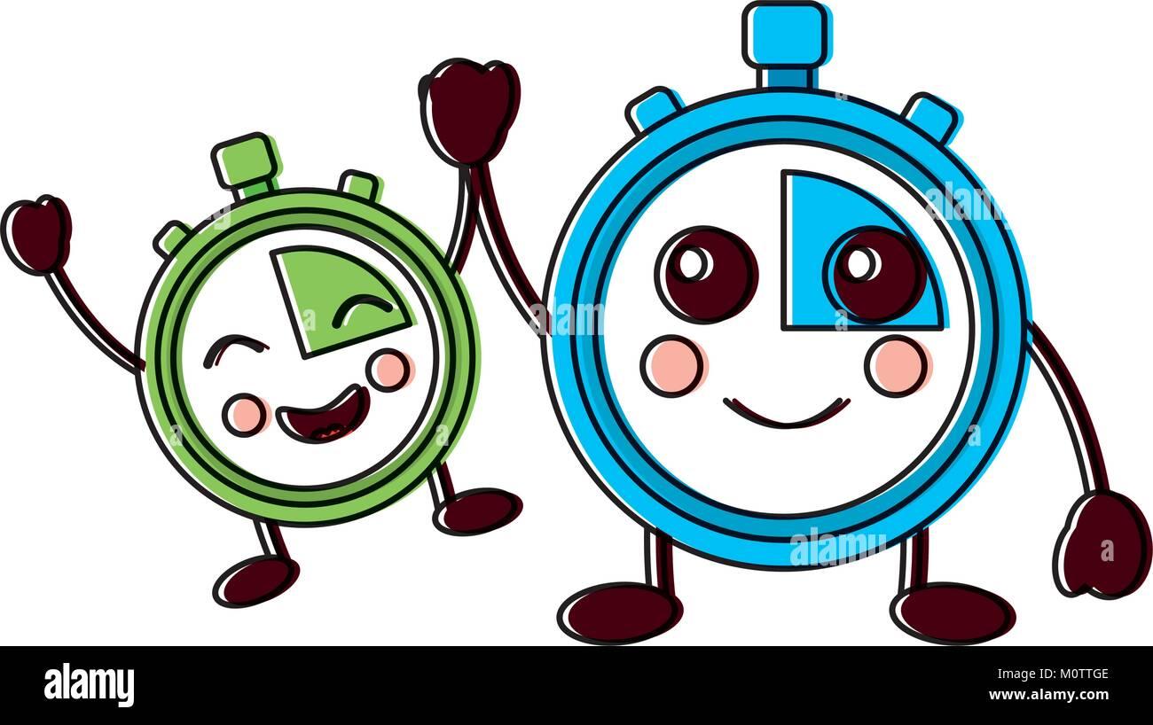 chronometers kawaii icon image  - Stock Image