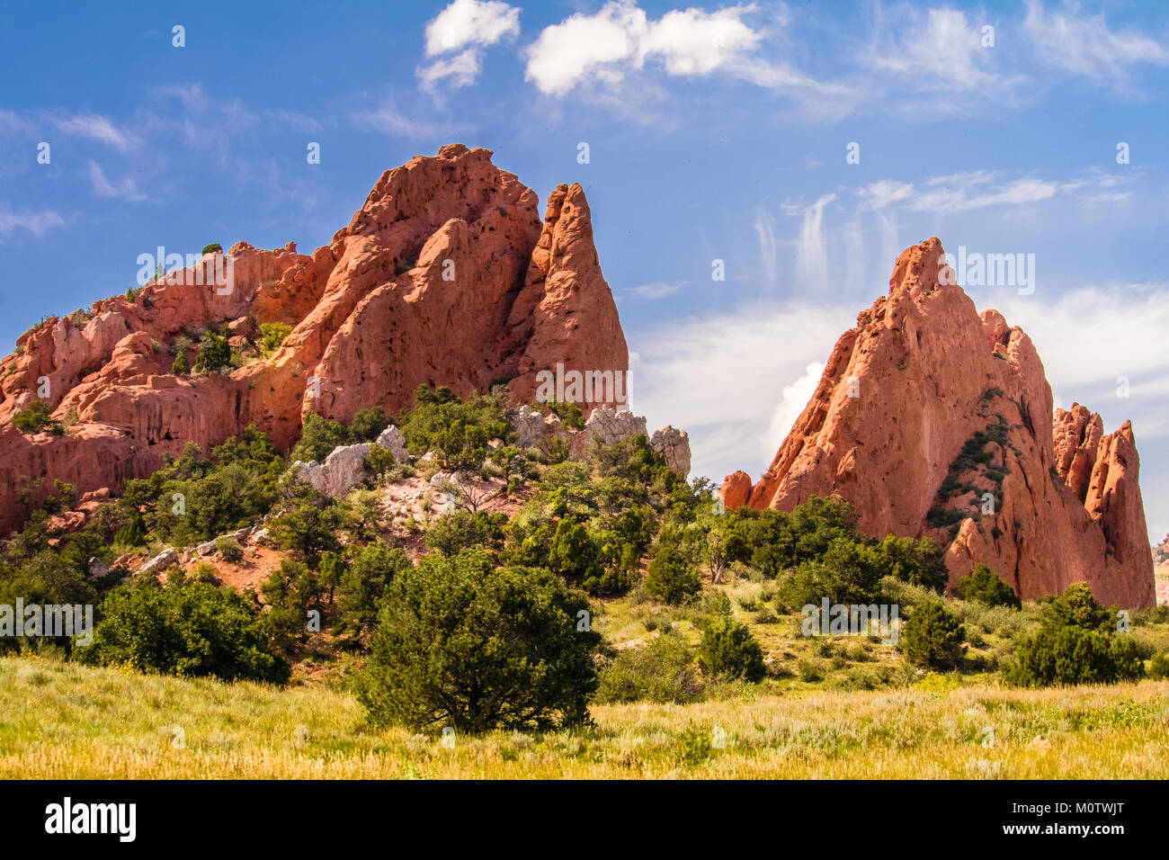 View of the amazing Garden of the Gods Park in Colorado Spring, Colorado; green grass, trees and bushes in the foreground; - Stock Image