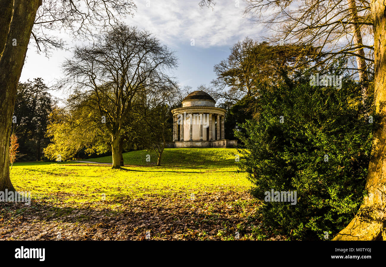 Temple of Ancient Virtue at Stowe Landscape Gardens, Buckinghamshire, UK - Stock Image