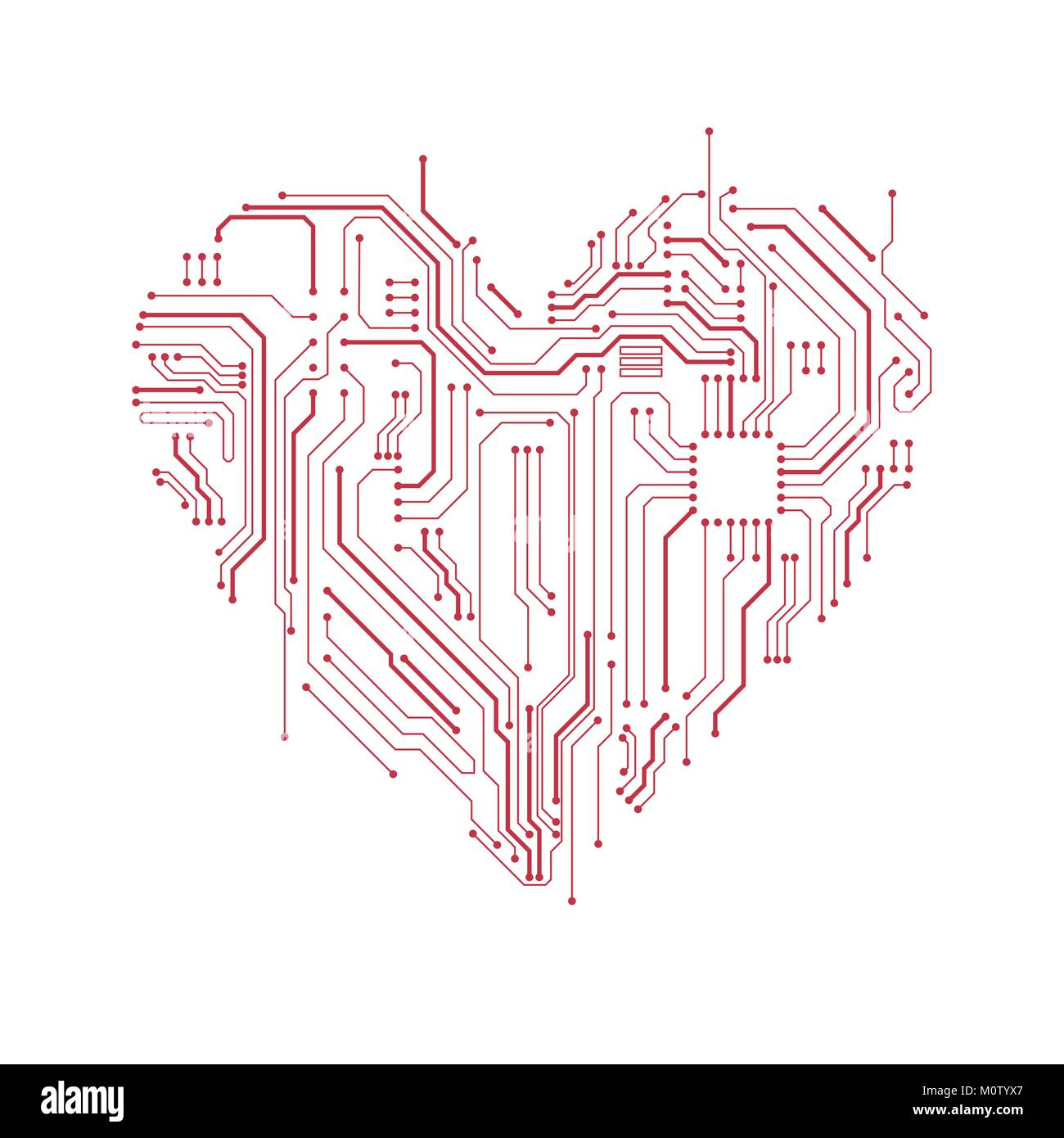 circuit board heart symbol valentine\u0027s day vector card computer