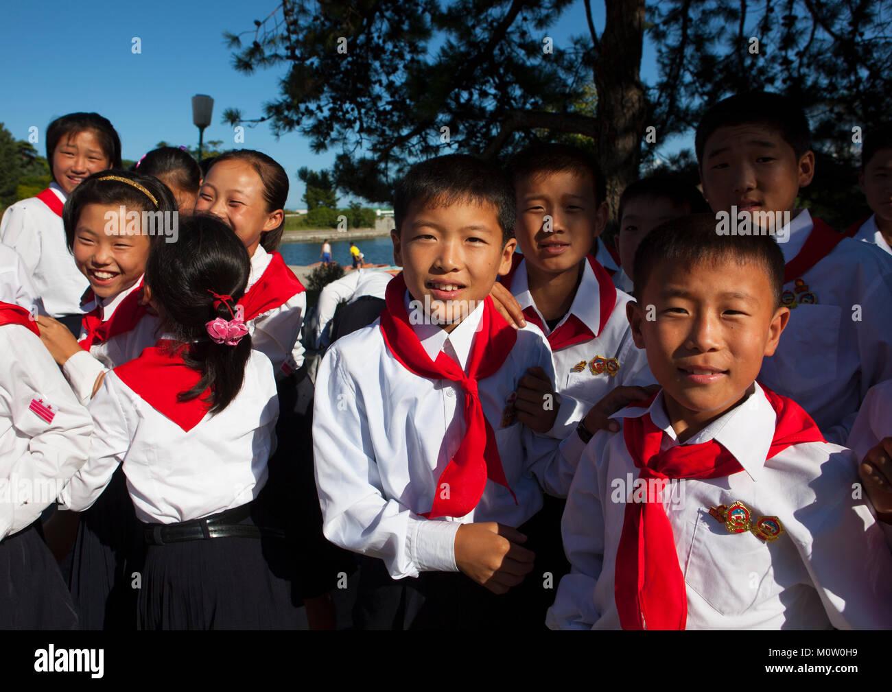 North Korean pioneers in Songdowon international children's camp, Kangwon Province, Wonsan, North Korea - Stock Image