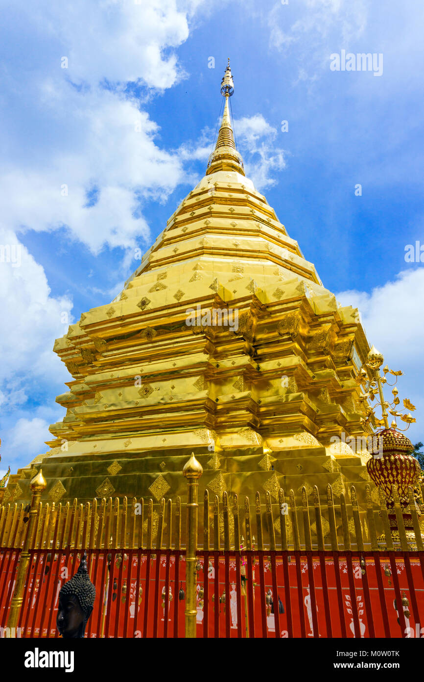Asia,Thailand,Chiang Mai,Wat Phra That Doi Suthep temple - Stock Image