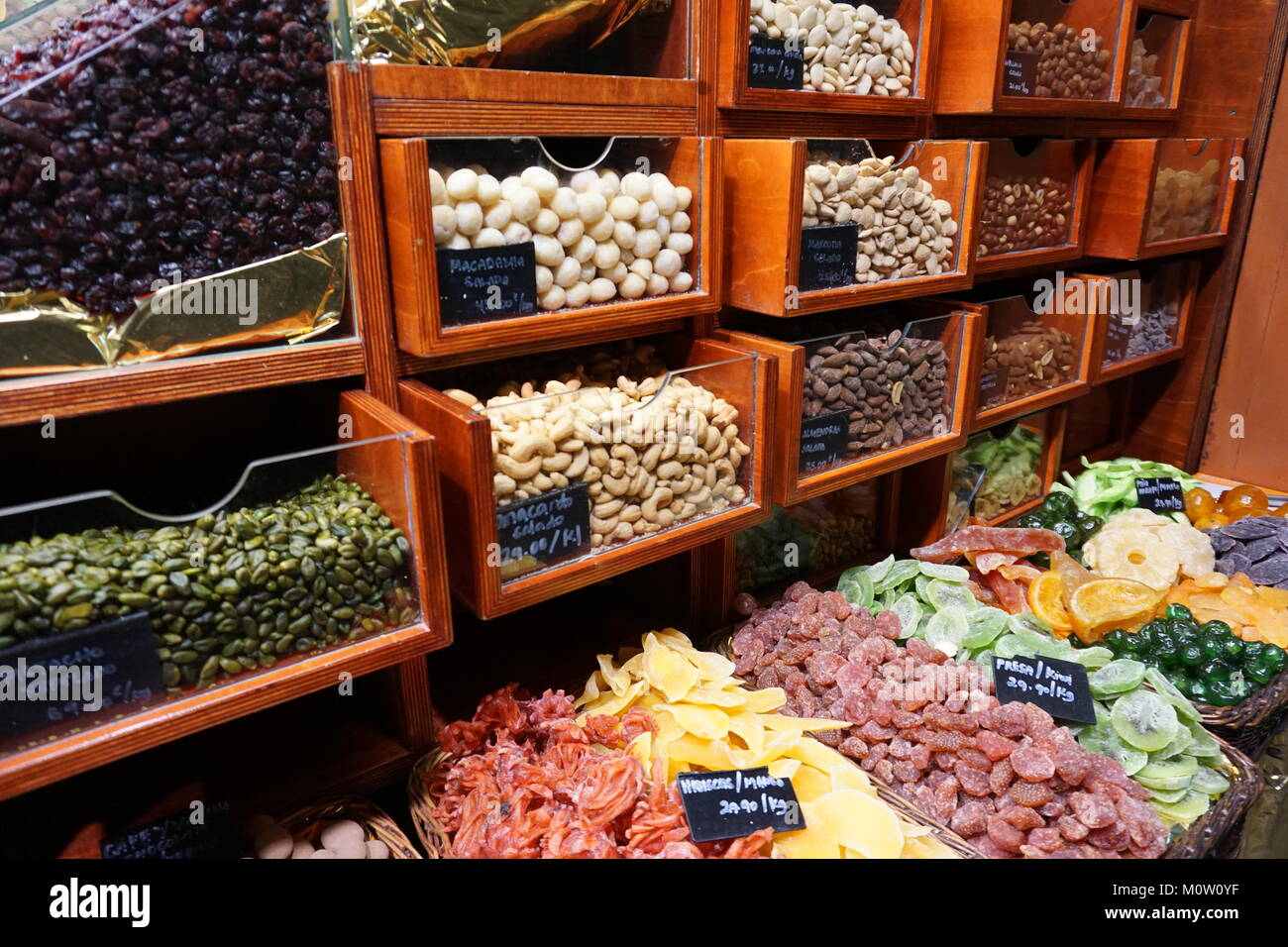 Barcelona Spain food Market  Mercat de la Boqueria - Stock Image
