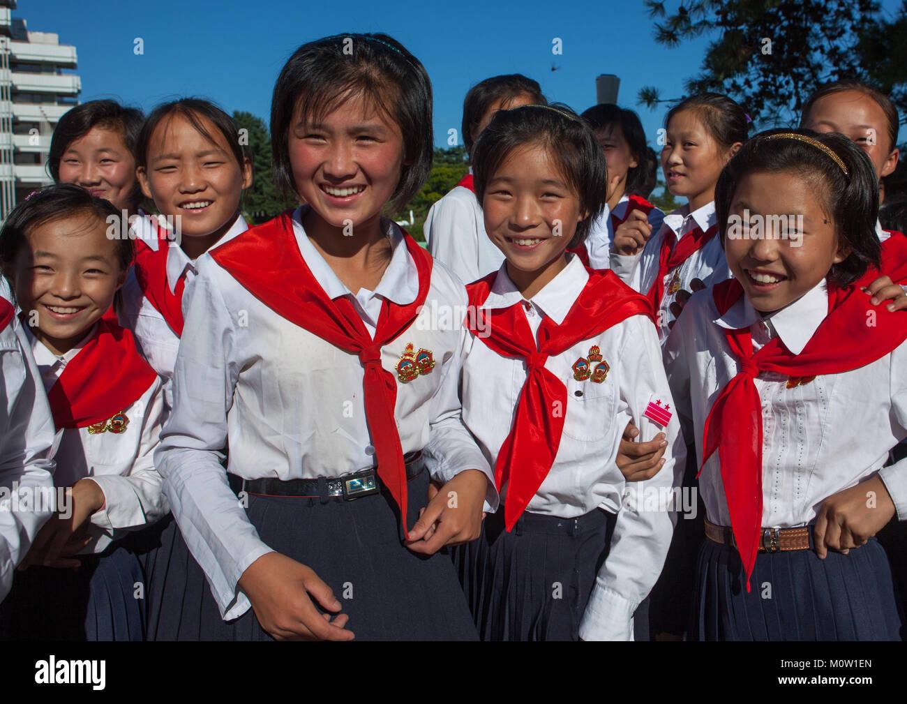 North Korean pioneers in the Songdowon international children's camp, Kangwon Province, Wonsan, North Korea Stock Photo
