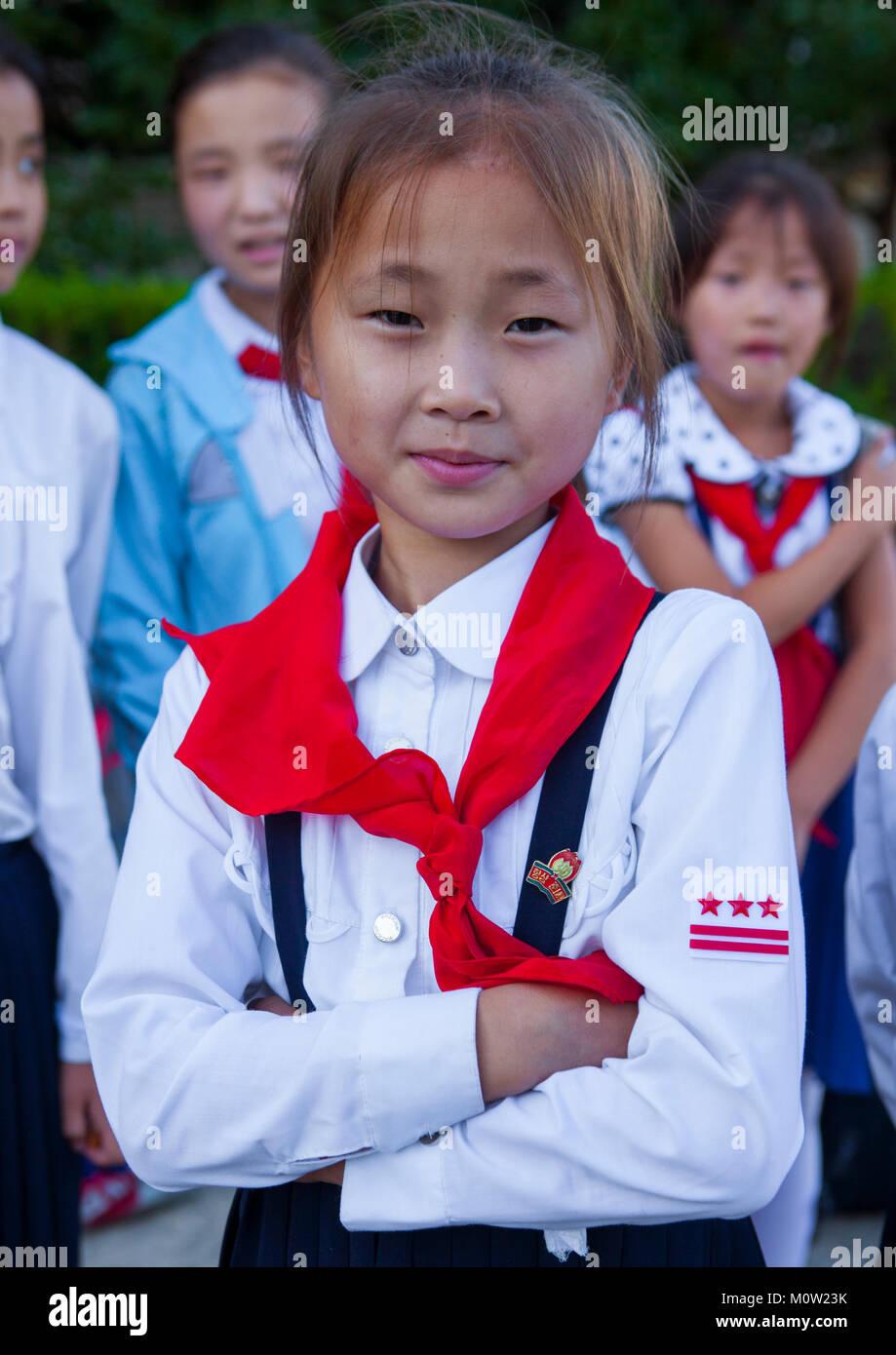 Pioneer girl in Songdowon international children's camp, Kangwon Province, Wonsan, North Korea - Stock Image