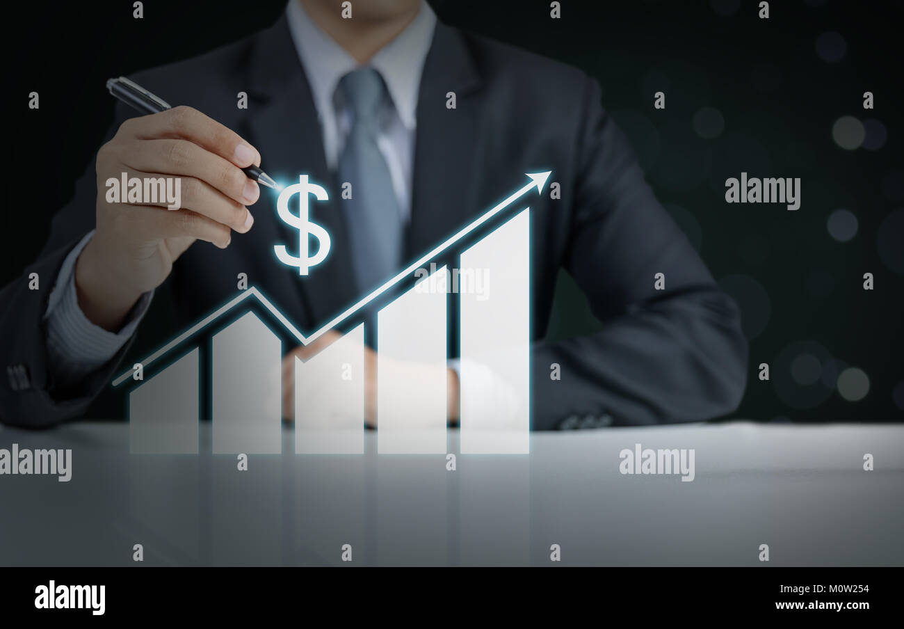 businessman present rising graph, business growth concept - Stock Image