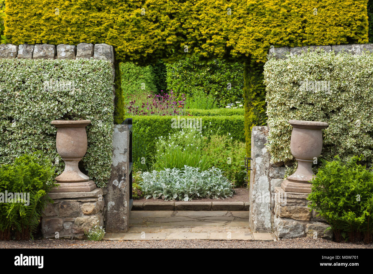 Entrance to the Flower Garden of Herterton House in summer, framed by a high stone wall and yew hedge arch near - Stock Image