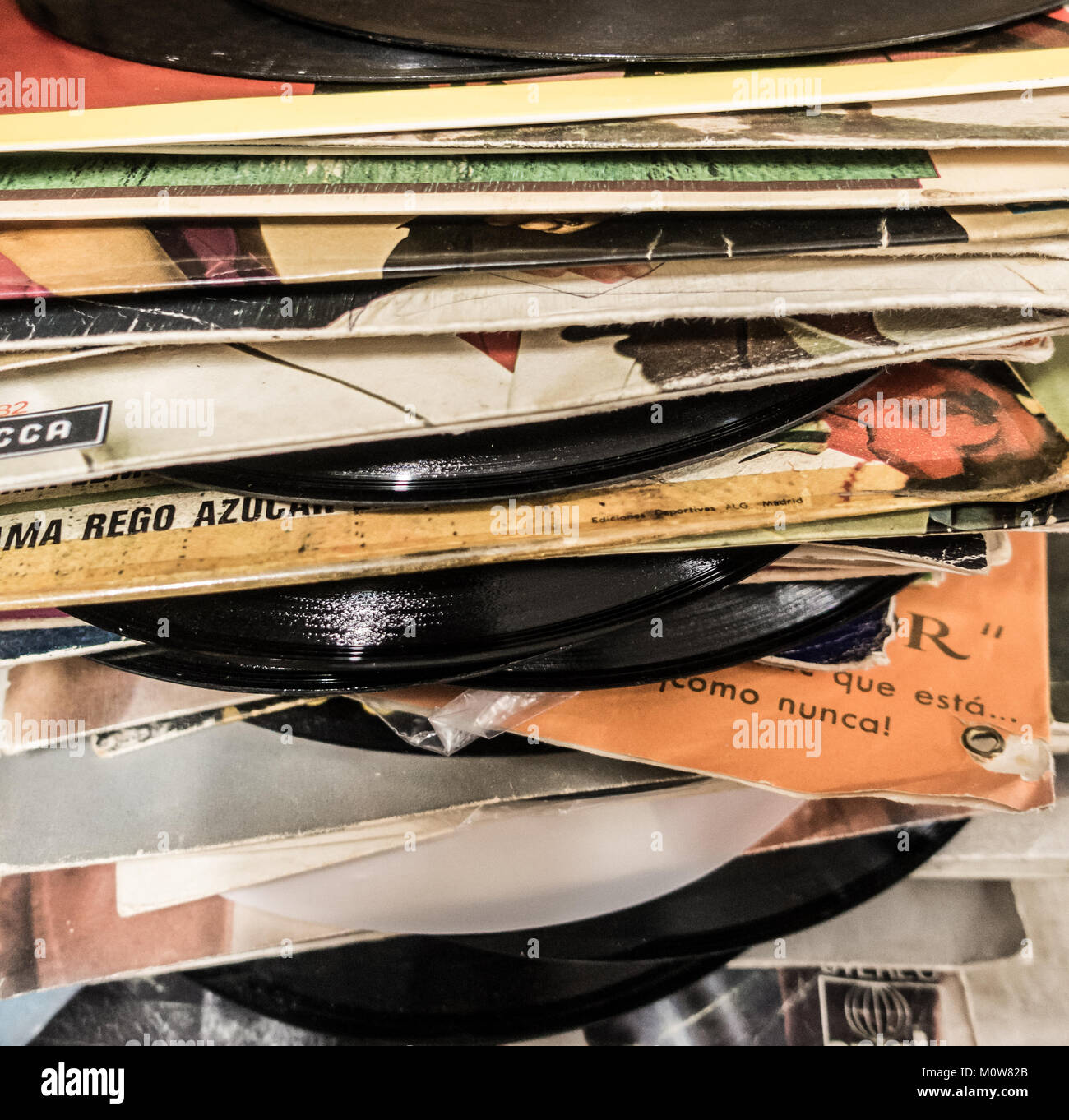 Vinyl records in charity shop. - Stock Image