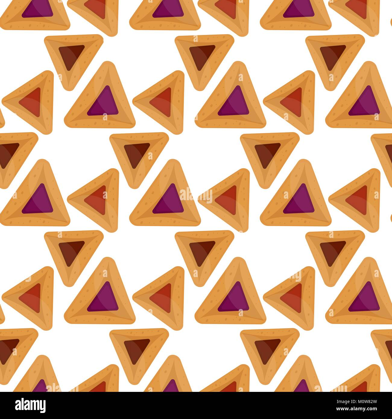 Purim hamantaschen seamless pattern. Jewish traditional dish on the holiday of Purim. endless background, texture, - Stock Image