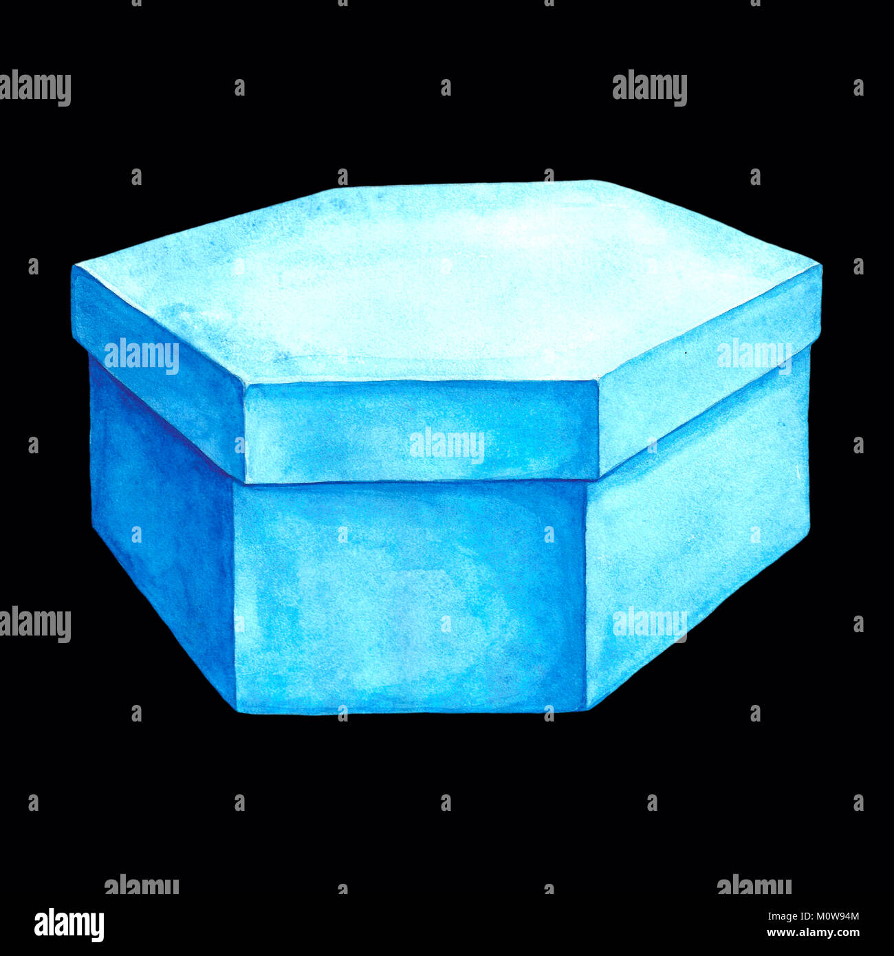 Watercolor illustration of a blue cardboard box with six facets. Hexahedron packing. Handmade drawing. Picture of - Stock Image