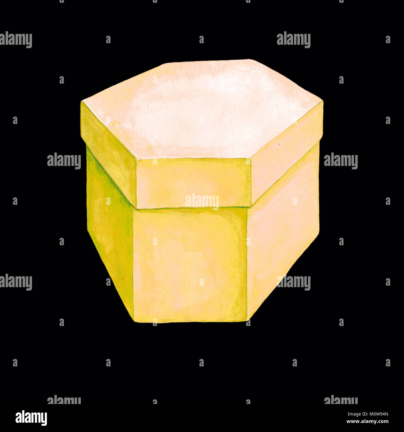 Watercolor illustration of a yellow cardboard box with six facets. Hexahedron packing. Handmade drawing. Picture - Stock Image