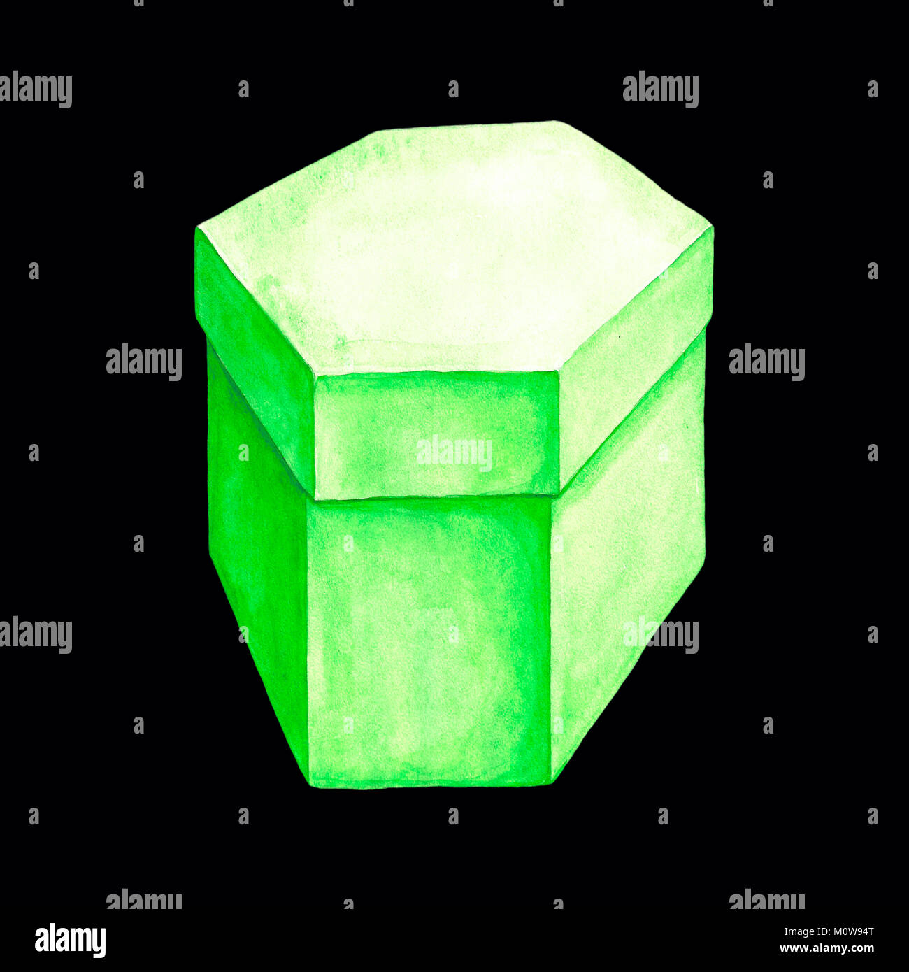 Watercolor illustration of a green cardboard box with six facets. Hexahedron packing. Handmade drawing. Picture - Stock Image