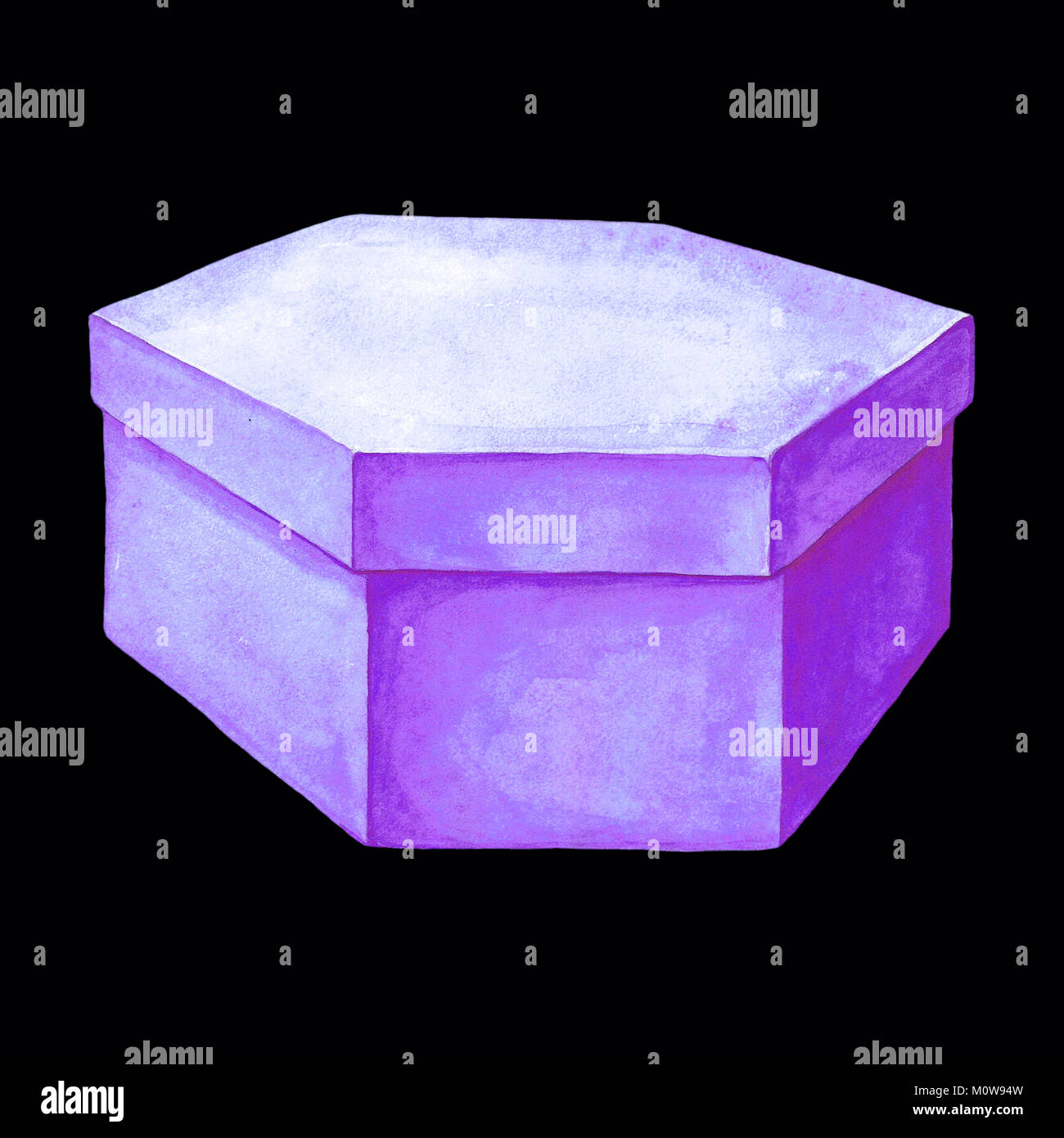 Watercolor illustration of a purple cardboard box with six facets. Hexahedron packing. Handmade drawing. Picture - Stock Image