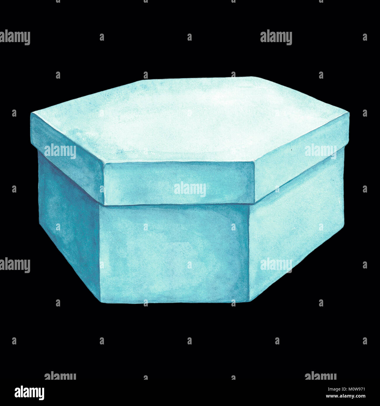 Watercolor illustration of a light blue cardboard box with six facets. Packing of hexahedron. Hand drawing. Picture - Stock Image