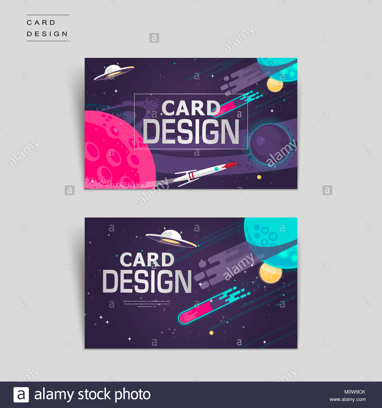 cartoon business card template design with outer space scenery Stock ...