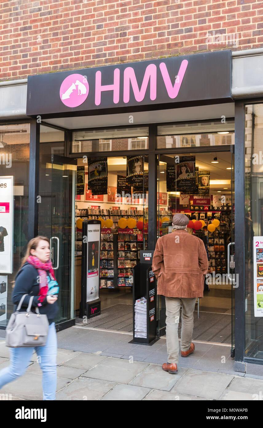 Front entrance of an HMV store in England, UK. HMV shop portrait. - Stock Image