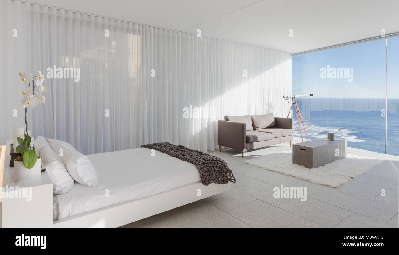 Modern Luxury Home Showcase Bedroom With Ocean View Stock