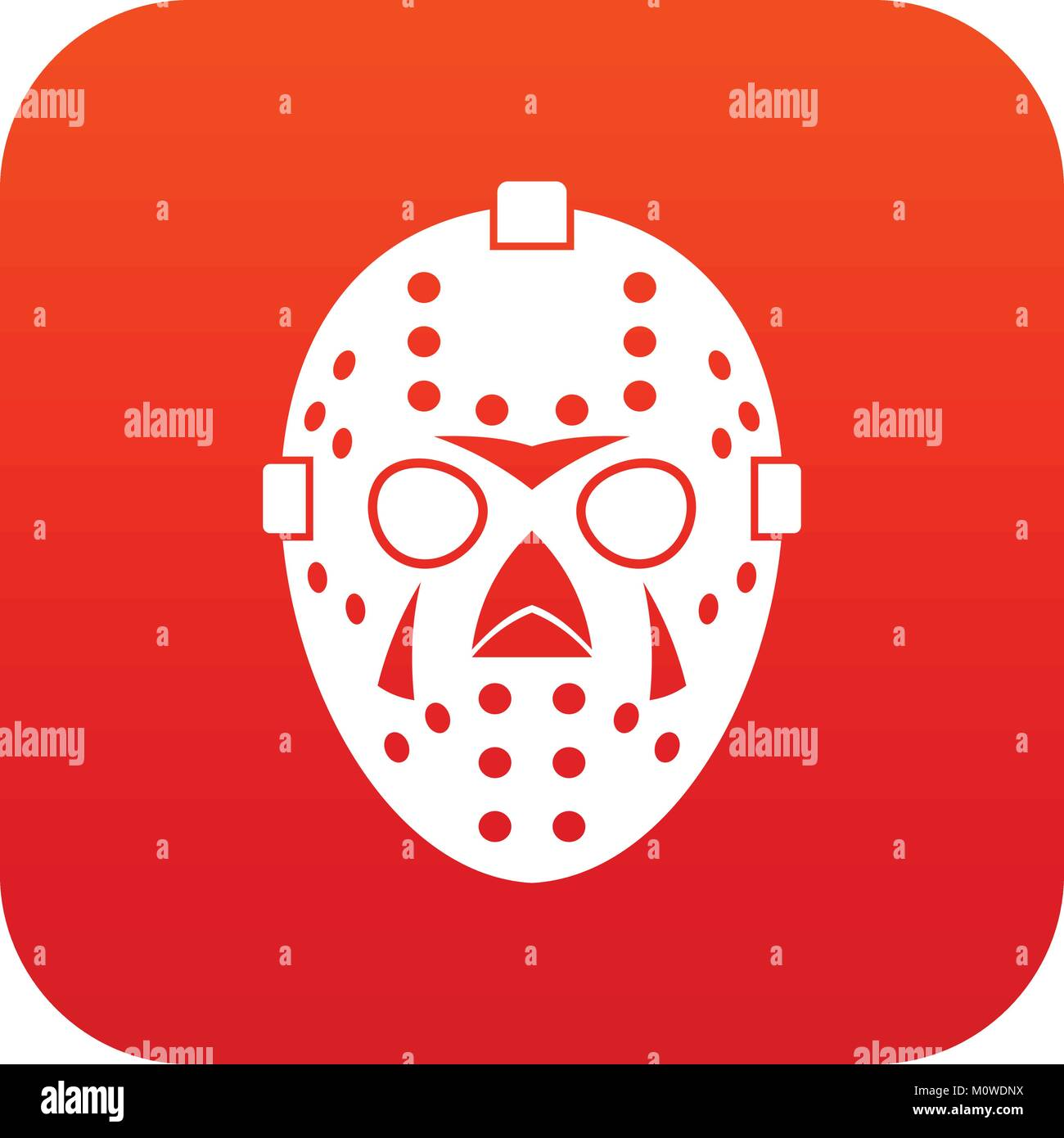 Goalkeeper mask icon digital red - Stock Image
