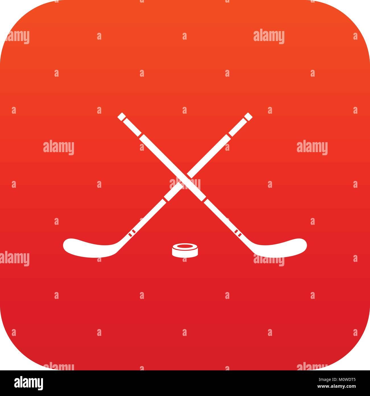 Hockey icon digital red - Stock Vector