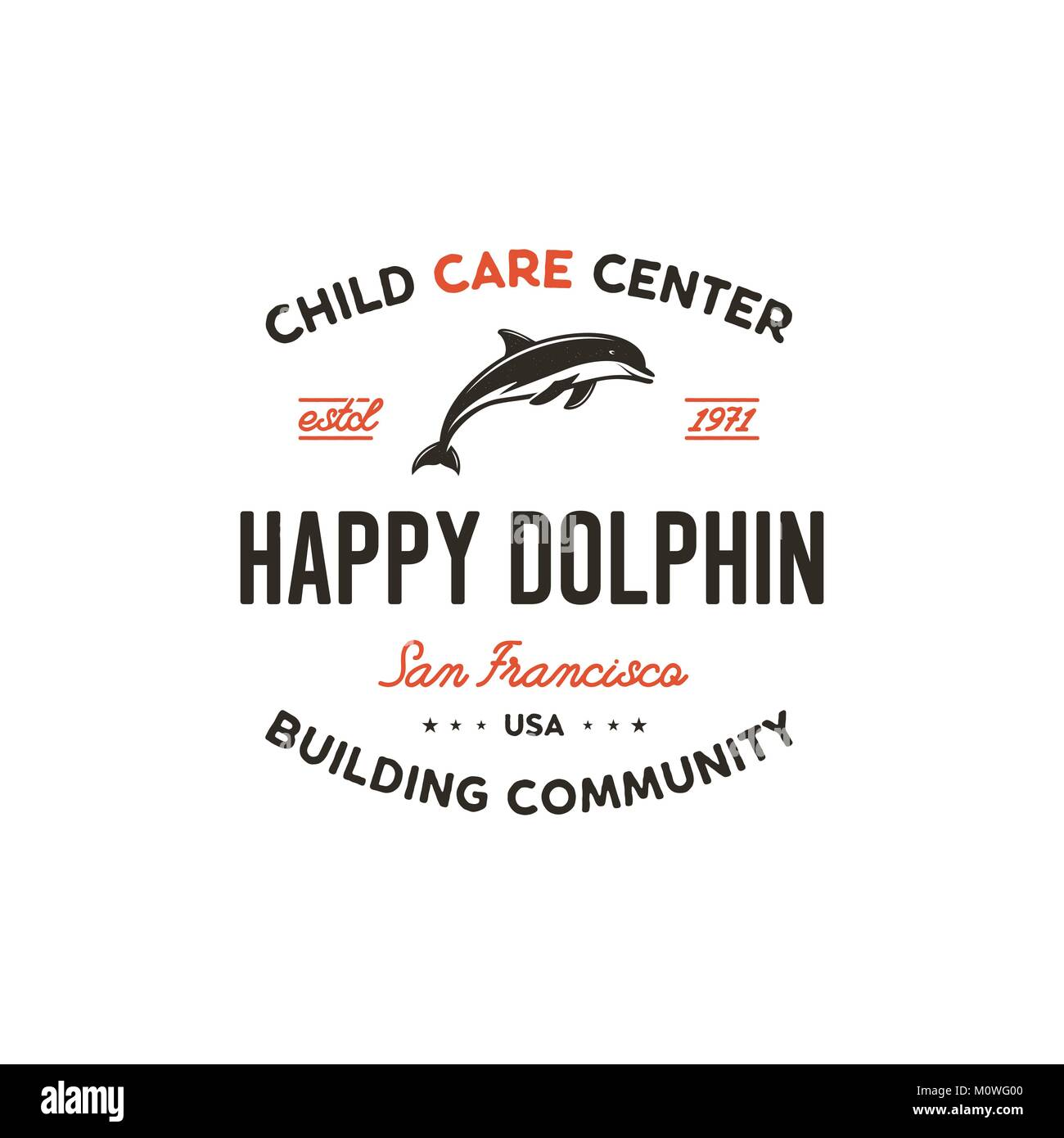 Child care center emblem. Dolphin symbol, icon and typography design ...